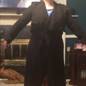 Jackets & Blazers - LADIES PLUS SZ 1X LONG BLACK JACKET W/ BELT NEW